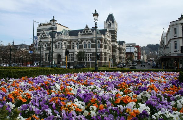 Flowers in front of the Dunedin Train Station
